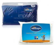 Silentnight - Proteggi-materasso Impress in schiuma viscoelastica 2.5cm single e due cuscini con parte centrale in schiuma viscoelastica