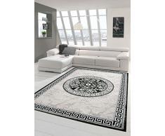 Tappeto moderno design Tappeto orientale con Glitzergarn tappeto da salotto con bordo e cerchio modello in crema grigio antracite Größe 120x160 cm