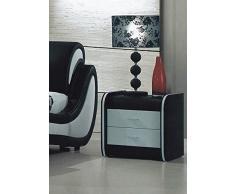 Modern Luxury comodino in pelle, colore: nero e Bianco