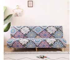 Futon - Copridivano elasticizzato senza braccioli, antiscivolo, elastico e pieghevole, adatto per divano letto pieghevole (Boemia, modello stampa)