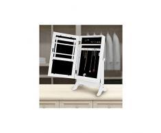 Multistore 2002 - Specchio per trucco con contenitore porta gioielli in legno, colore: Bianco