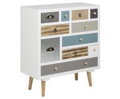 AC Design Furniture 63374 comò Suwen più cassetti colorati, gambe in legno di pino, vernice trasparente, 11 pz, bianco