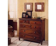 Comò stile coloniale legno massello di teak lavorazione artigianale con cornice intagliata - Prezzo OUTLET ONLINE