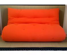 Divano letto futon double face base tatami colori rosso/arancio misura futon 140 x 200 cm