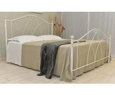 Letto Matrimoniale, Ferro BATTUTO, Modello Denise, 100% Made in Italy (Bianco, Sfumature Oro)