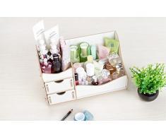 KTZLL Comodino comò pelle cura cosmetica storage desktop casella cassetto gli scaffali di legno , 2