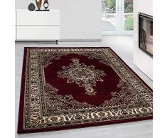 Teppium tappeto orientale orientale tradizionale medaglione orientale a macchina intrecciato a macchina rosso, Maße:80x150 cm
