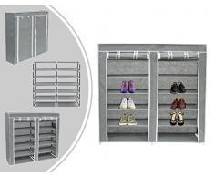 LEOGREEN - Armadio per scarpe con scaffali in tessuto grigio - 7 scaffali con copertura e zip - facile da sistemare