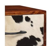 tidyard Comodino da Chic Modern, 1 Cassetti, Frontale in Vera Pelle, 40x30x50 cm