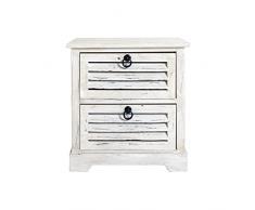 Rebecca Mobili Comodino montato bianco, cassettiera 2 cassetti, legno paulownia, vintage shabby chic, da camera ingresso bagno - Misure: 45 x 42 x 29 cm (HxLxP) - Art. RE4571