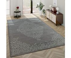 Moderno Tappeto Soggiorno Pelo Corto Motivo Orientale Bordura in Grigio Nero, Dimensione:80x150 cm
