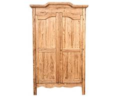 Armadio Country in legno massello di tiglio finitura naturale 127x59x204 CM