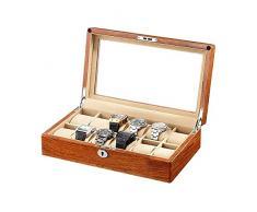 LSLS Portagioielli 12 Slot Watch Case con valletto, Orologio in Legno Display Case Guarda organizzatore, Custodia per Gioielli Organizzatore Gioielli