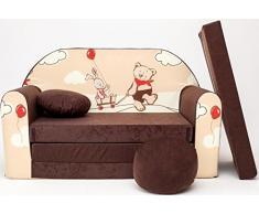 PRO COSMO K26 Bambini Divano Letto futon con Pouf/poggiapiedi/Cuscino, Tessuto, Marrone, 168 x 98 x 60 cm