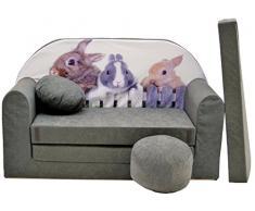 Pro Cosmo a25 Bambini Divano Letto futon con Pouf/poggiapiedi/Cuscino, Tessuto, Verde, 168 x 98 x 60 cm
