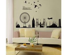 Wallpark Nero Città Silhouette - Londra Torre del Ponte Ruota Panoramica Removibile Adesivi Murali Adesivi da Parete, Soggiorno Camera da Letto Casa DIY Arte Decorativo Adesivo Murale