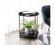 """Home&Selected Furniture/Piastrella Divano Tavolino Nordic Living Room Piccolo Tavolino Rotondo Tabella 2 Livello Magazzinaggio Camera Comodino Angolo, 19.6""""x 23.6"""" (Colore: Oro) (Color : Black)"""