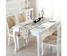Yunt runner da tavolo in lino con nappa ricamo decorativo tovaglia letto di lusso coda asciugamano in stile europei e americani per matrimoni e feste parti, large