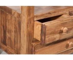 Comodino Country in legno massello di tiglio finiutra naturale 56x36x66 cm