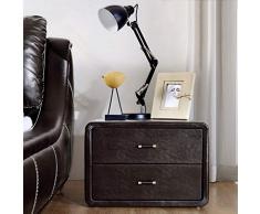 Bedside table Comodino Comodino Moderno in Pelle Armadio Semplice per La Moda Armadietto Piccolo Comodino Comodino (Color : Dark Brown, Size : 54 * 40 * 37cm)
