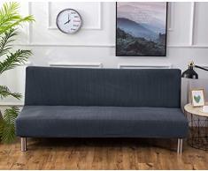 Futon - Copridivano elasticizzato senza braccioli, antiscivolo, elastico e pieghevole, adatto per divano letto pieghevole (grigio-blu, jacquard lavorato a maglia)