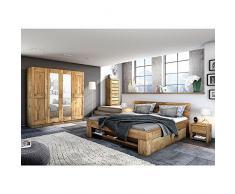 moebelstore24, letto futon Saha, in rovere massello oliato, 140 x 200 cm, con 4 cassettoni