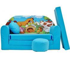 PRO COSMO B5 Bambini Divano Letto futon con Pouf/poggiapiedi/Cuscino, Tessuto, Blu, 168 x 98 x 60 cm