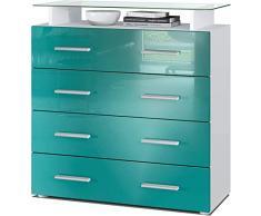 ELB Cassettiera Design con mensola in Vetro, 4 cassetti Disponibile in Vari Colori. Stay (Petrol)