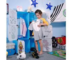 ANGRIA Armadio Componibile per Bambini con Adesivi Animali per Moduli Scaffali , Scarpe Scaffale ,Giocattoli Materiale Scolastico (6 Cubi, Blu)