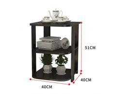 Camera Semplice Divano Side Cabinet, Comodino angolare, Creativo Side Table Multi-Strato Storage Rack (Color : Black)