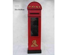 """'Retro Vintage armadio con porta in vetro/CD DVD archiviazione""""inglese cassetta postale - Rosso"""