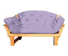 Vivere Zen - Divano Letto in Legno Artigianale con futon - Sesamo 2 posti - con futon + Schienale Mezzaluna 120x50 cm