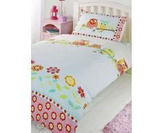 Just Contempo - Copripiumino misto cotone con stampe variegate, set di biancheria da letto per bambini e bambine, Cotone, civette - rosso (blu giallo verde), copripiumino singolo (nursery)