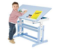TecTake Scrivania per bambini regolabile in altezza + comò cassettiera a rotelle blu