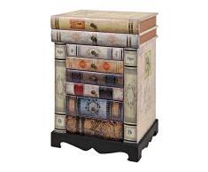 ts-ideen GmbH Comó in Stile Vintage Epoca con sagoma a Libri impilati. con 6 cassetti ed Un vano portaoggetti.