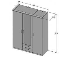 Bronte - Armadio 3 ante e 2 cassetti, con specchio, colore: nero
