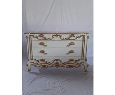 Dynamic24 - Comò in Stile Barocco Anticato Louises, Larghezza: 125 cm, Colore Bianco con Dettagli Dorati