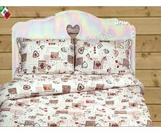 Dolce Notte - Coppia federe letto cm 52x82 Holly Cuori Country chic Tirolese Bordeaux
