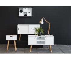 AC Design Furniture 60639 credenza Mariela, porte 2 pcs, fondo 1 PZ legno, 96 x 38 x 62,5 cm, bianco