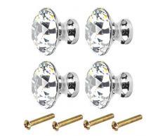 Kissral Pomelli per Mobili Cucina Classica 4pcs Maniglie per Mobili Moderni Eleganti Pomelli per Cassettiera Bambini Maniglia a Forma di Diamante per Armadio Guardaroba Accessori per Mobile con 4 Viti