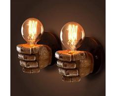 NIUYAO Industriale Lampade da Parete Illuminazione a Mano Vintage Mini Luce a Muro Illuminazione per Interni Marrone- Mano destra
