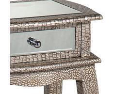 DUSX Moc-Comodino, finitura effetto pelle di coccodrillo, con specchio, in legno, colore: argento