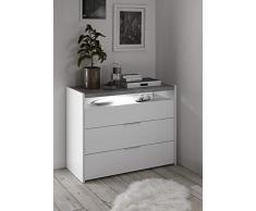 comò 3 cassetti bianco opaco moderno top grigio EFFETTO CEMENTO economico moderno design