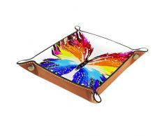 HOHOHAHA Grunge Rainbow Butterfly Valet Vassoio per riporre gioielli, comodino in pelle PU con fibbia a scatto per dadi, organizer per orologi, monete e gioielli