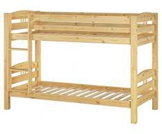 Erst-Holz Letto a Castello 90x200 per Bambini in Pino massello divisibile con doghe rigide 60.10-09