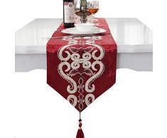 Runner da tavola di lusso in velluto ricamato con nappa, decorazione della casa, feste, letto, idea regalo, Red, 33 * 250cm(12.5*98)
