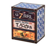 [en.casa] Comò con 3 Cassetti 50 x 40 x 30 cm Cassettiera in Stile Industriale/Vintage Comodino Multicolore con Bordi Rivestiti in Similpelle