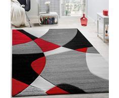 Paco Home Tappeto di Design Moderno Motivo Geometrico Taglio Sagomato in Rosso Nero Grigio, Dimensione:60x110 cm