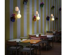 Signstek E27 LED applique faretto da parete in legno massiccio & Ferro Battuto Camera Lampade da parete moderni in legno per la camera da letto, soggiorno (bianco)