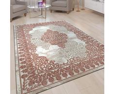 Tappeto Pelo Corto Soggiorno Aspetto 3D Design Orientale Ornamenti in Rosa, Dimensione:80x150 cm